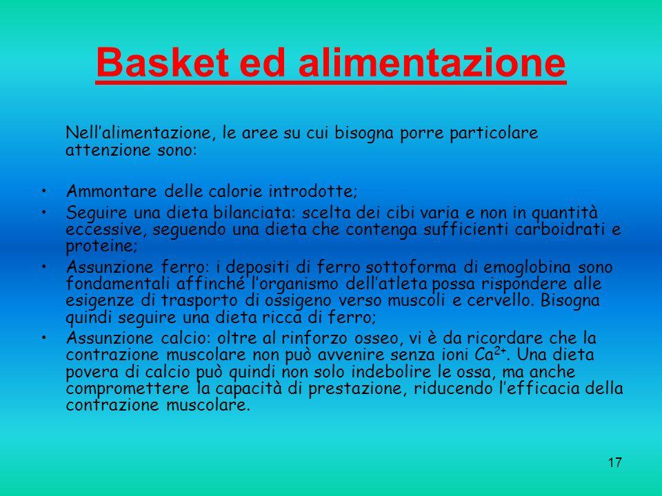 17 Basket ed alimentazione Nellalimentazione, le aree su cui bisogna porre particolare attenzione sono: Ammontare delle calorie introdotte; Seguire un
