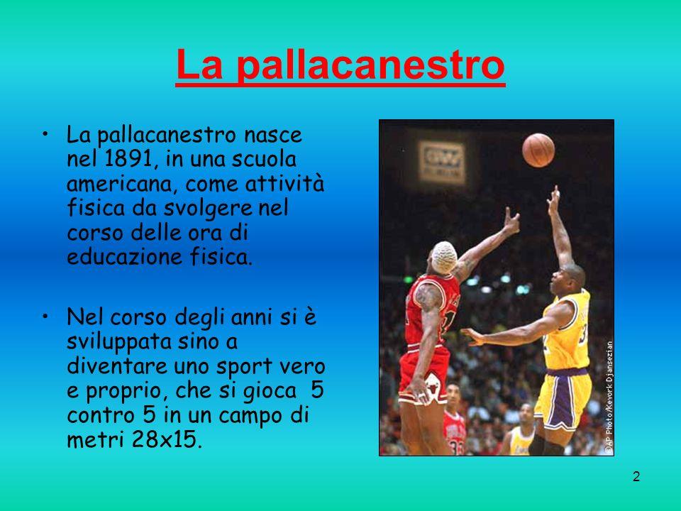 2 La pallacanestro La pallacanestro nasce nel 1891, in una scuola americana, come attività fisica da svolgere nel corso delle ora di educazione fisica