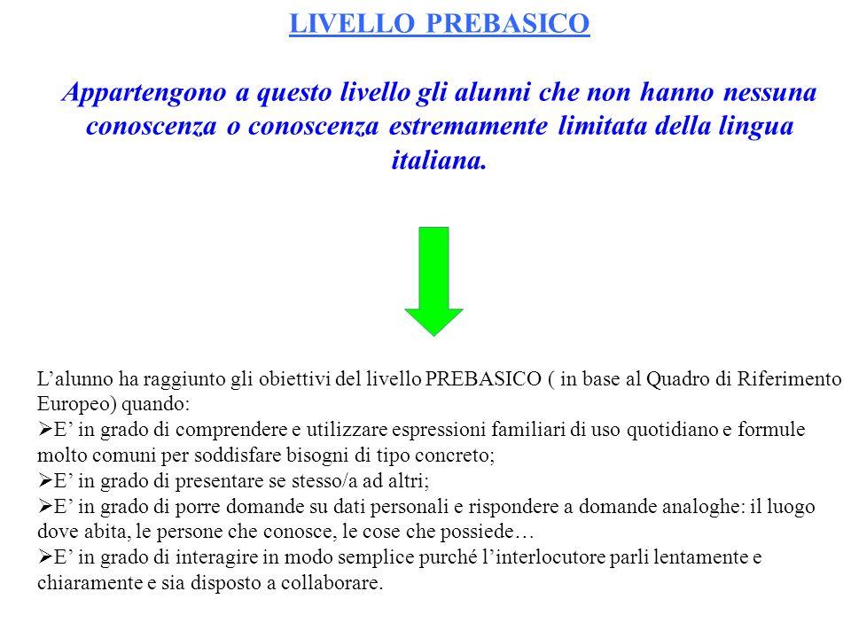 LIVELLO PREBASICO Appartengono a questo livello gli alunni che non hanno nessuna conoscenza o conoscenza estremamente limitata della lingua italiana.