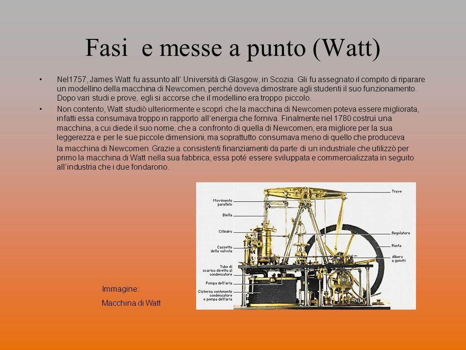 Fasi e messe a punto (Watt) Nel1757, James Watt fu assunto all Università di Glasgow, in Scozia. Gli fu assegnato il compito di riparare un modellino