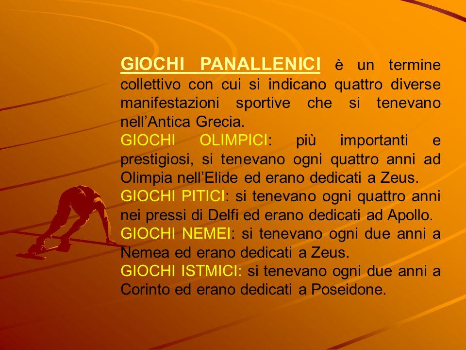 GIOCHI PANALLENICI è un termine collettivo con cui si indicano quattro diverse manifestazioni sportive che si tenevano nellAntica Grecia. GIOCHI OLIMP