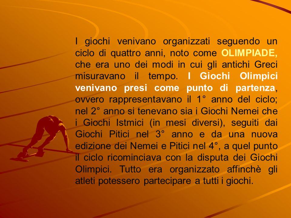 I giochi venivano organizzati seguendo un ciclo di quattro anni, noto come OLIMPIADE, che era uno dei modi in cui gli antichi Greci misuravano il temp