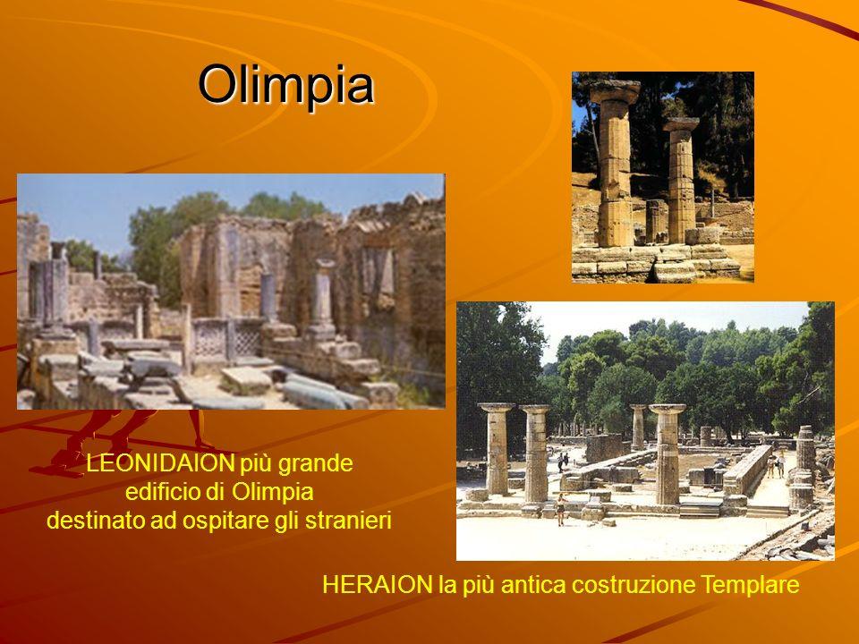 Olimpia LEONIDAION più grande edificio di Olimpia destinato ad ospitare gli stranieri HERAION la più antica costruzione Templare