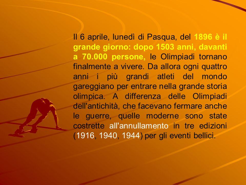 Il 6 aprile, lunedì di Pasqua, del 1896 è il grande giorno: dopo 1503 anni, davanti a 70.000 persone, le Olimpiadi tornano finalmente a vivere. Da all