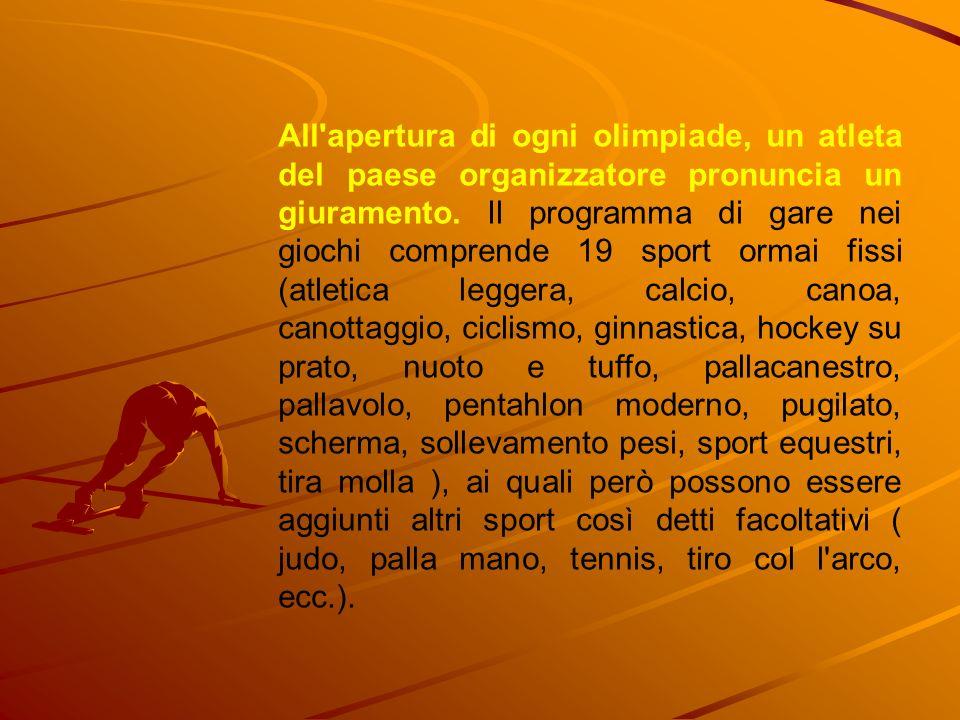 All'apertura di ogni olimpiade, un atleta del paese organizzatore pronuncia un giuramento. Il programma di gare nei giochi comprende 19 sport ormai fi