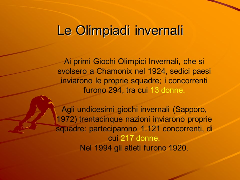 Ai primi Giochi Olimpici Invernali, che si svolsero a Chamonix nel 1924, sedici paesi inviarono le proprie squadre; i concorrenti furono 294, tra cui