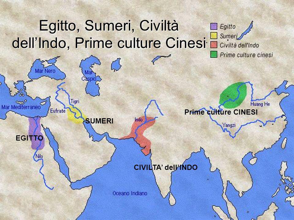 EGITTO SUMERI CIVILTA dellINDO Prime culture CINESI Egitto, Sumeri, Civiltà dellIndo, Prime culture Cinesi