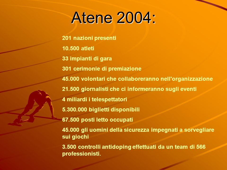 Atene 2004: 201 nazioni presenti 10.500 atleti 33 impianti di gara 301 cerimonie di premiazione 45.000 volontari che collaboreranno nell'organizzazion