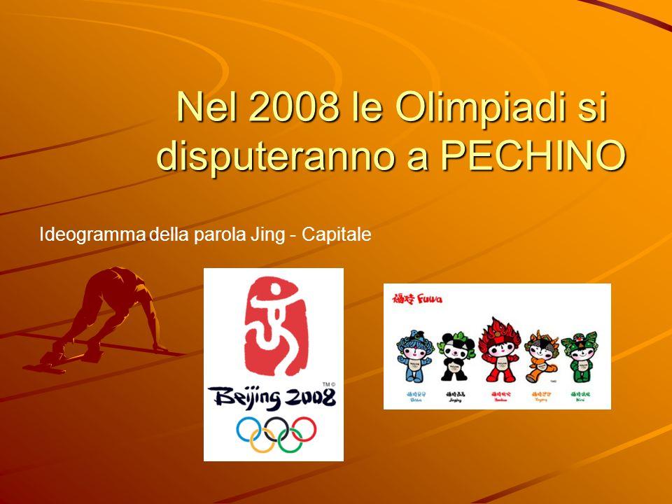 Nel 2008 le Olimpiadi si disputeranno a PECHINO Ideogramma della parola Jing - Capitale