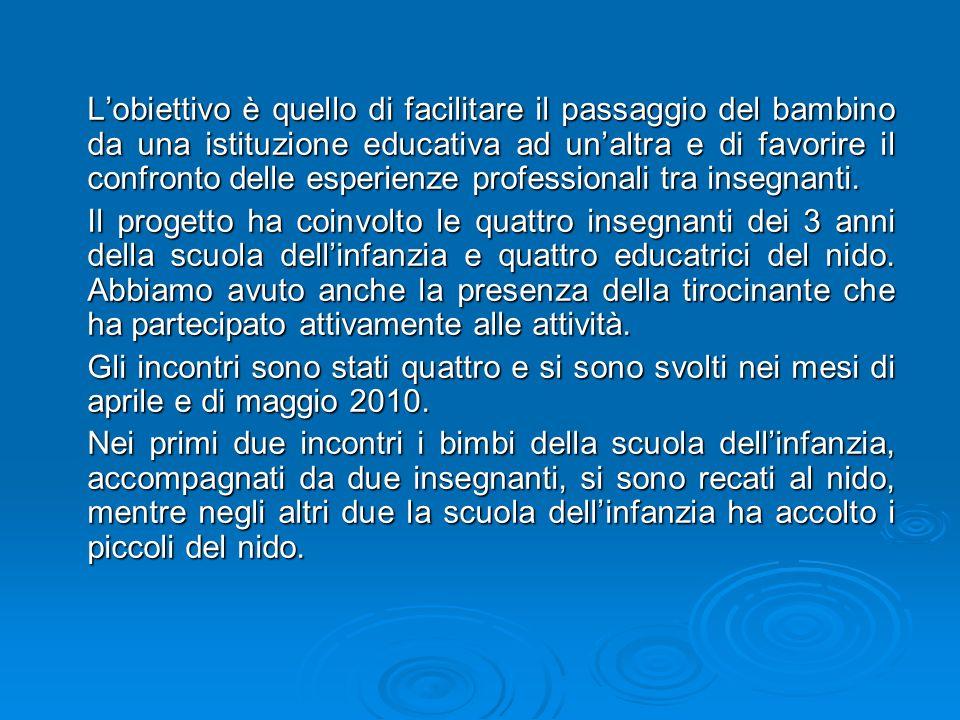 Le insegnanti della scuola dellinfanzia Montagnola, insieme alle educatrici del nido Coccinella, hanno progettato lattività educativo- didattica.