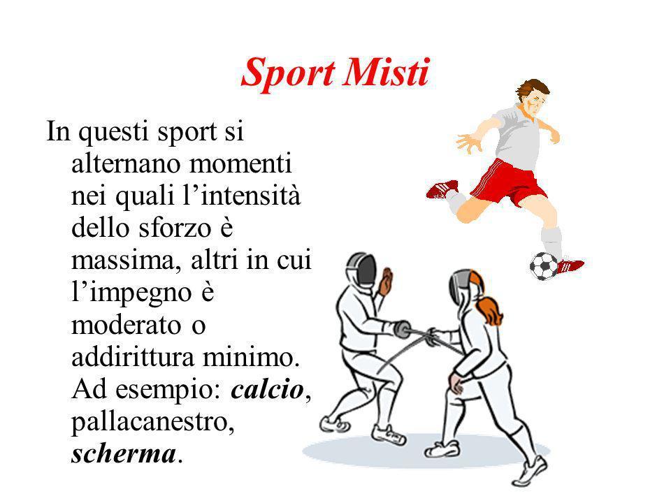 Sport Misti In questi sport si alternano momenti nei quali lintensità dello sforzo è massima, altri in cui limpegno è moderato o addirittura minimo.