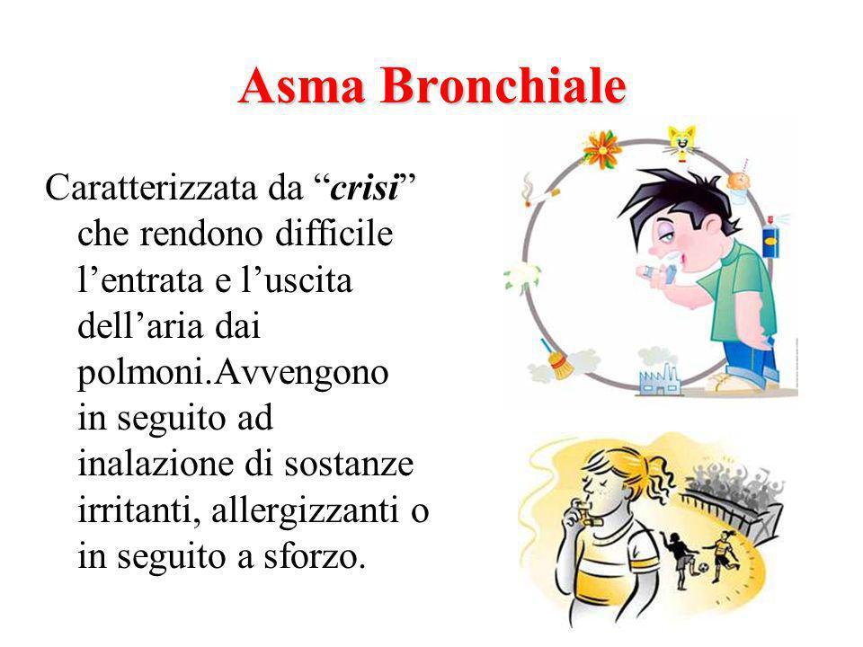 Asma Bronchiale Caratterizzata da crisi che rendono difficile lentrata e luscita dellaria dai polmoni.Avvengono in seguito ad inalazione di sostanze irritanti, allergizzanti o in seguito a sforzo.