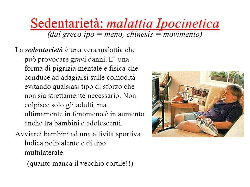 Sedentarietà: malattia Ipocinetica Sedentarietà: malattia Ipocinetica (dal greco ipo = meno, chinesis = movimento) La sedentarietà è una vera malattia che può provocare gravi danni.