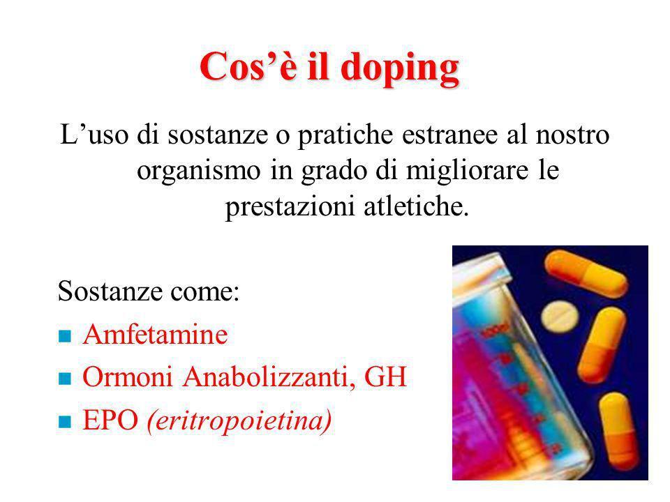 Cosè il doping Luso di sostanze o pratiche estranee al nostro organismo in grado di migliorare le prestazioni atletiche.