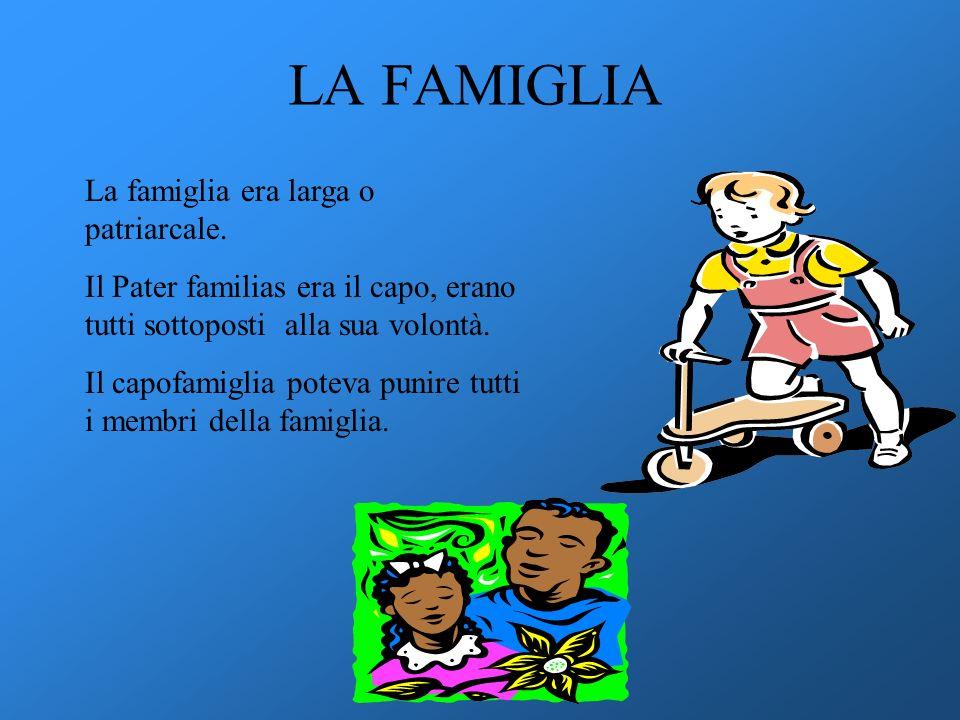 LA FAMIGLIA La famiglia era larga o patriarcale. Il Pater familias era il capo, erano tutti sottoposti alla sua volontà. Il capofamiglia poteva punire