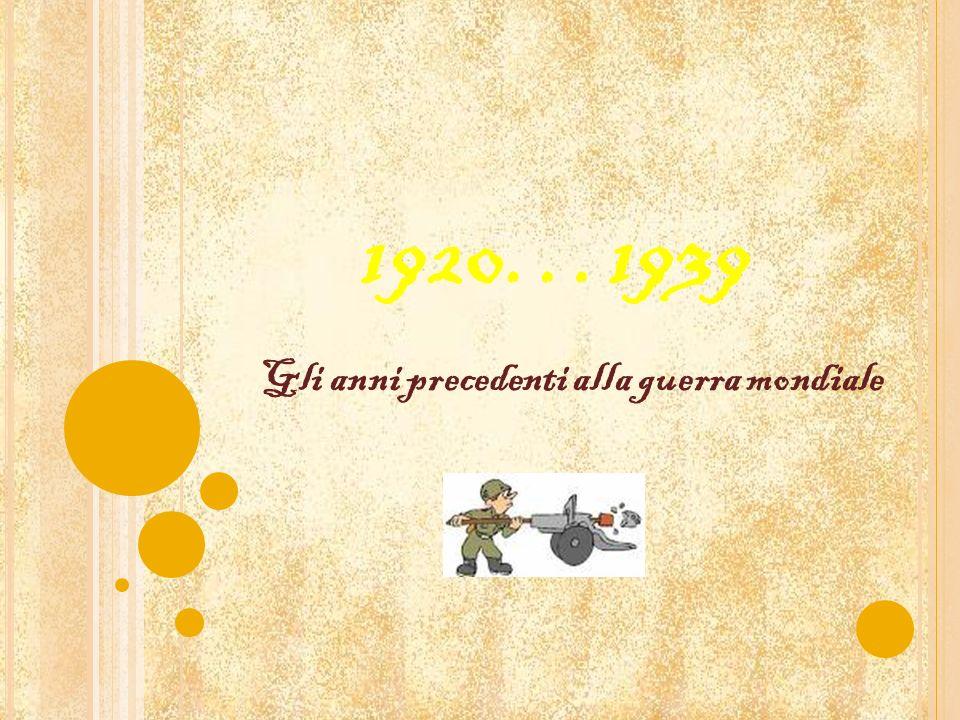 1920…1939 Gli anni precedenti alla guerra mondiale