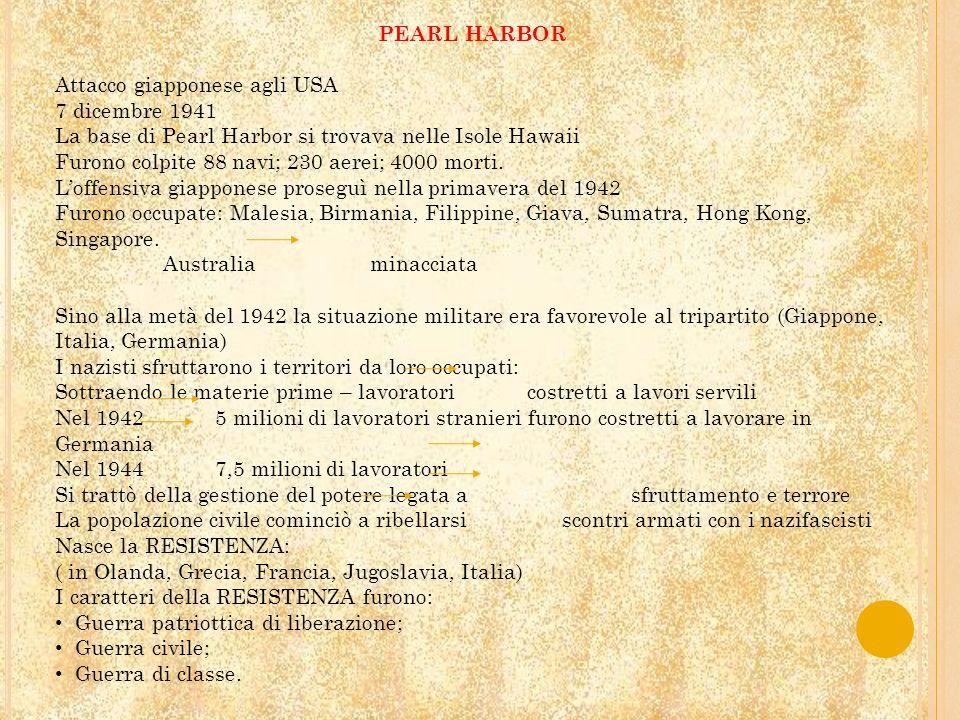 PEARL HARBOR Attacco giapponese agli USA 7 dicembre 1941 La base di Pearl Harbor si trovava nelle Isole Hawaii Furono colpite 88 navi; 230 aerei; 4000