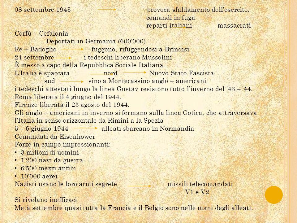 08 settembre 1943 provoca sfaldamento dellesercito: comandi in fuga reparti italiani massacrati Corfù – Cefalonia Deportati in Germania (600'000) Re –