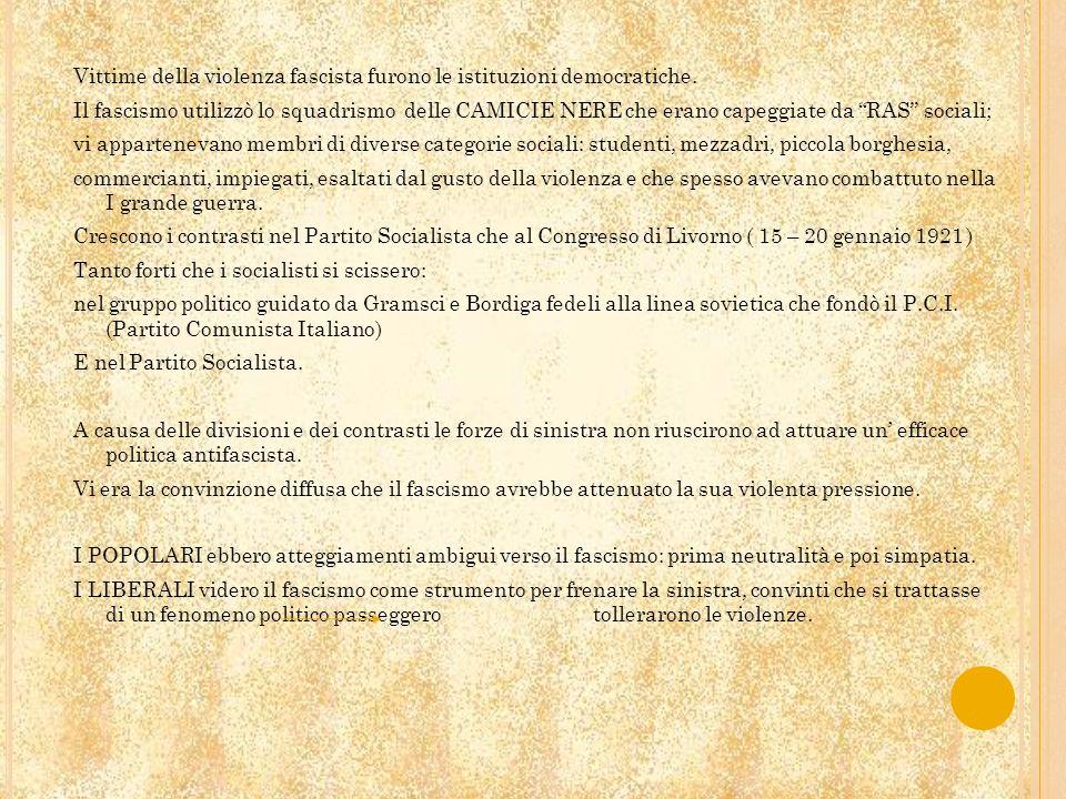Mussolini firma un patto di pacificazione con i socialisti e questo fece scatenare la reazione dei RAS.