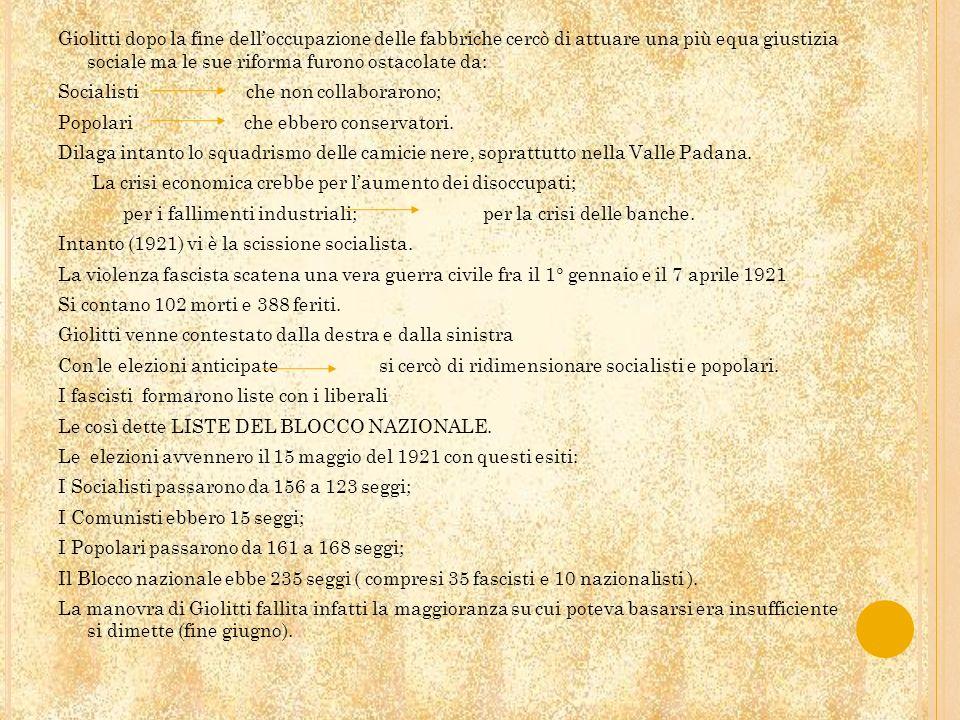 Il re affidò a Mussolini lincarico di formare il governo Il governo fu composto da: Fascisti Liberali – popolari Un nazionalista Giovanni Gentile fu ministro della pubblica istruzione.