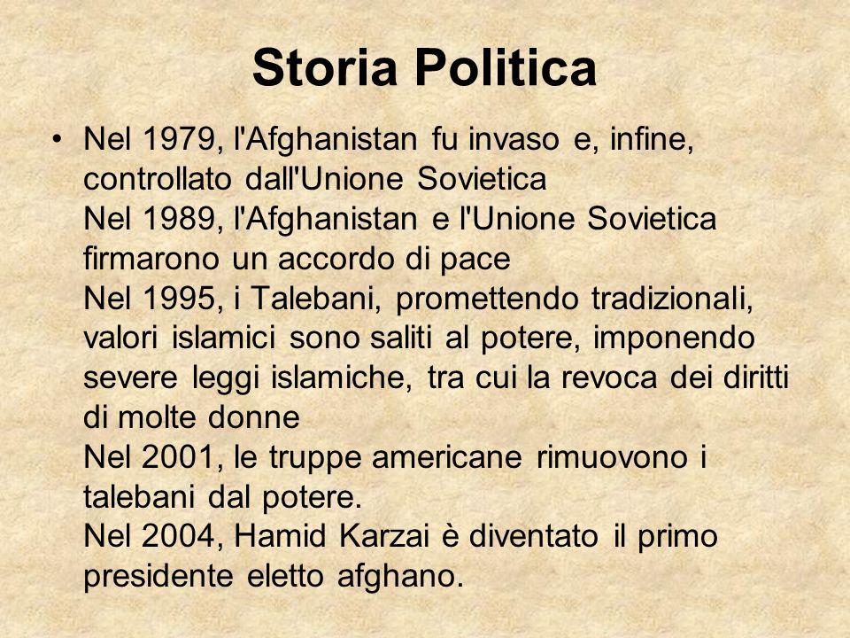 Storia Politica Nel 1979, l'Afghanistan fu invaso e, infine, controllato dall'Unione Sovietica Nel 1989, l'Afghanistan e l'Unione Sovietica firmarono