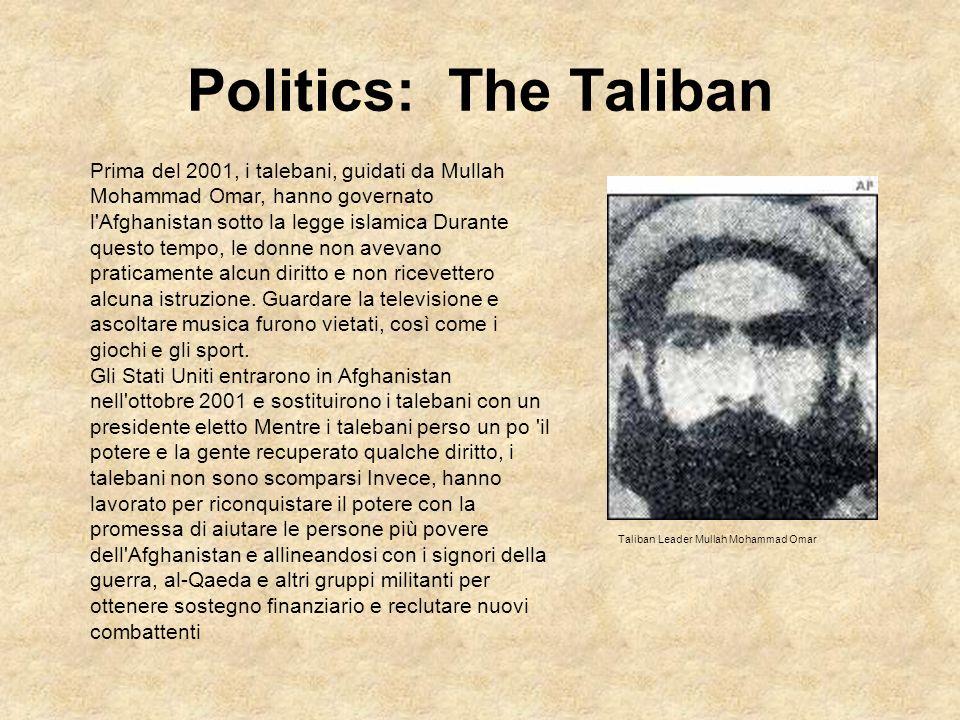 Politics: The Taliban Prima del 2001, i talebani, guidati da Mullah Mohammad Omar, hanno governato l'Afghanistan sotto la legge islamica Durante quest