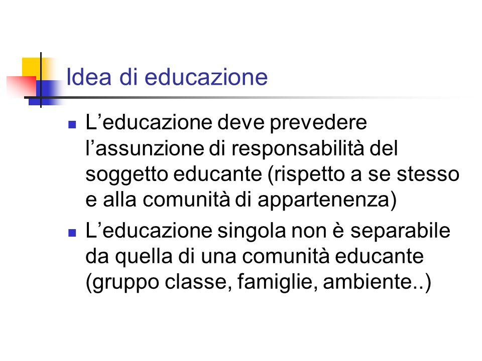 Idea di educazione Leducazione deve prevedere lassunzione di responsabilità del soggetto educante (rispetto a se stesso e alla comunità di appartenenz