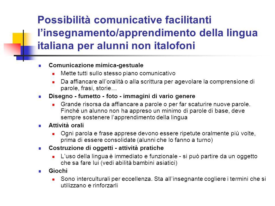 Possibilità comunicative facilitanti linsegnamento/apprendimento della lingua italiana per alunni non italofoni Comunicazione mimica-gestuale Mette tu