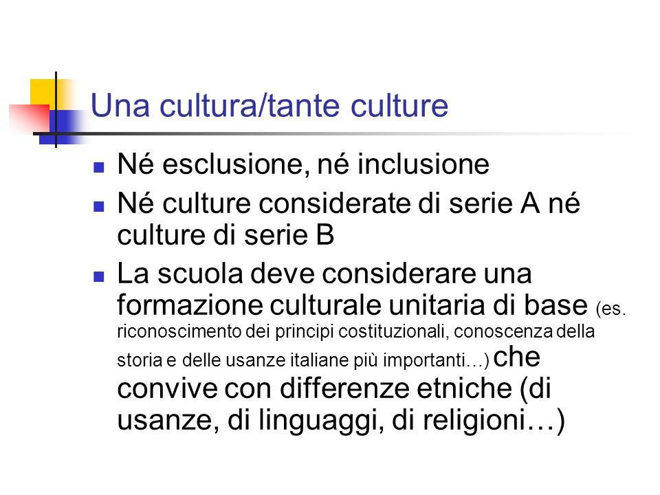 Una cultura/tante culture Né esclusione, né inclusione Né culture considerate di serie A né culture di serie B La scuola deve considerare una formazio