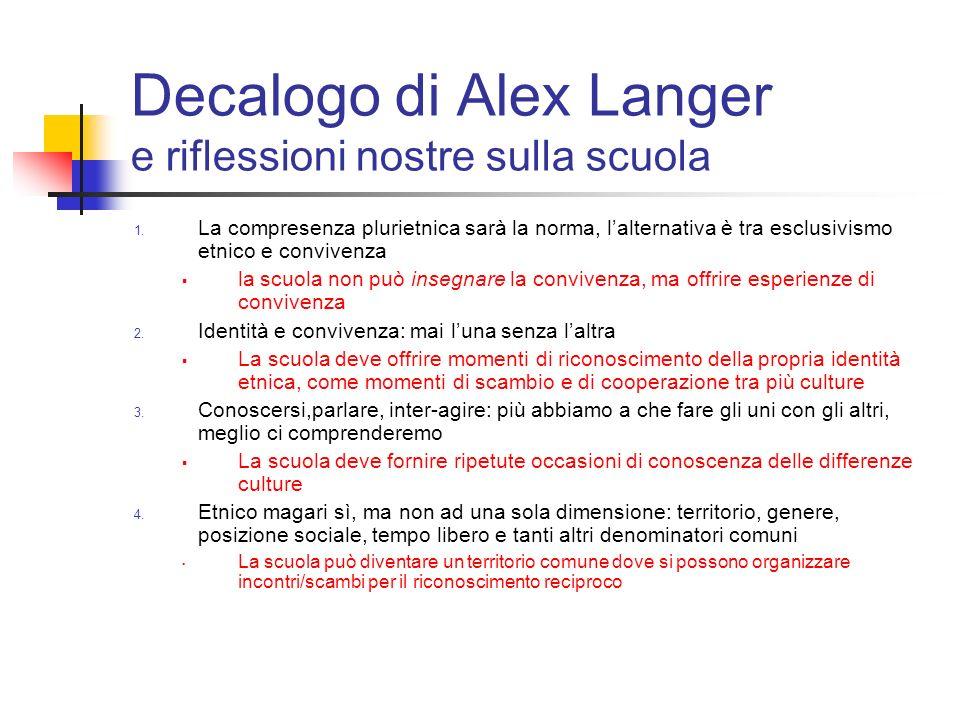 Decalogo di Alex Langer e riflessioni nostre sulla scuola 1. La compresenza plurietnica sarà la norma, lalternativa è tra esclusivismo etnico e conviv