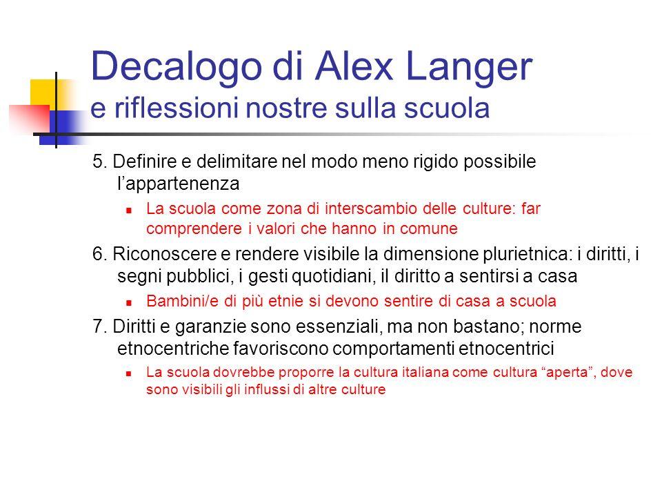 Decalogo di Alex Langer e riflessioni nostre sulla scuola 5. Definire e delimitare nel modo meno rigido possibile lappartenenza La scuola come zona di