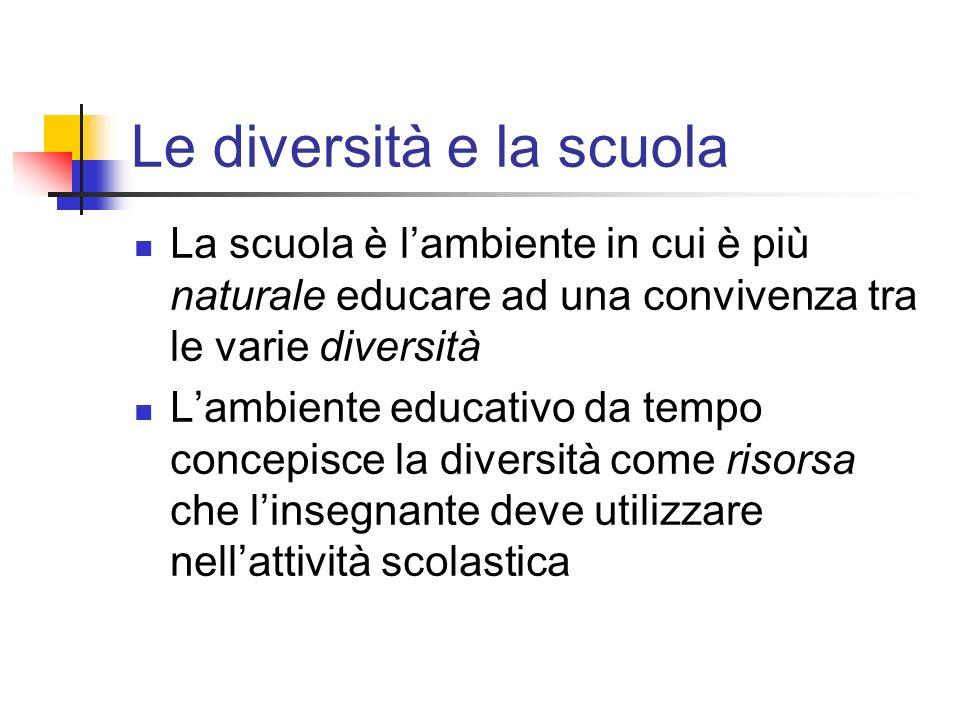 Le diversità e la scuola La scuola è lambiente in cui è più naturale educare ad una convivenza tra le varie diversità Lambiente educativo da tempo con