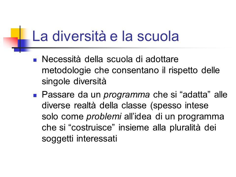 La diversità e la scuola Necessità della scuola di adottare metodologie che consentano il rispetto delle singole diversità Passare da un programma che