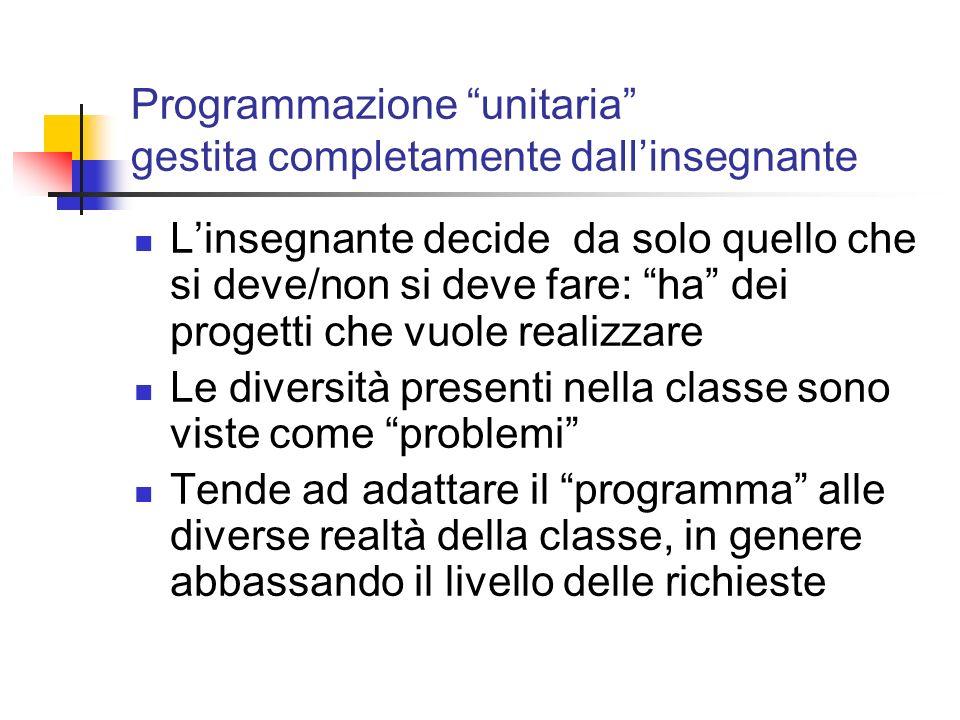 Programmazione unitaria gestita completamente dallinsegnante Linsegnante decide da solo quello che si deve/non si deve fare: ha dei progetti che vuole