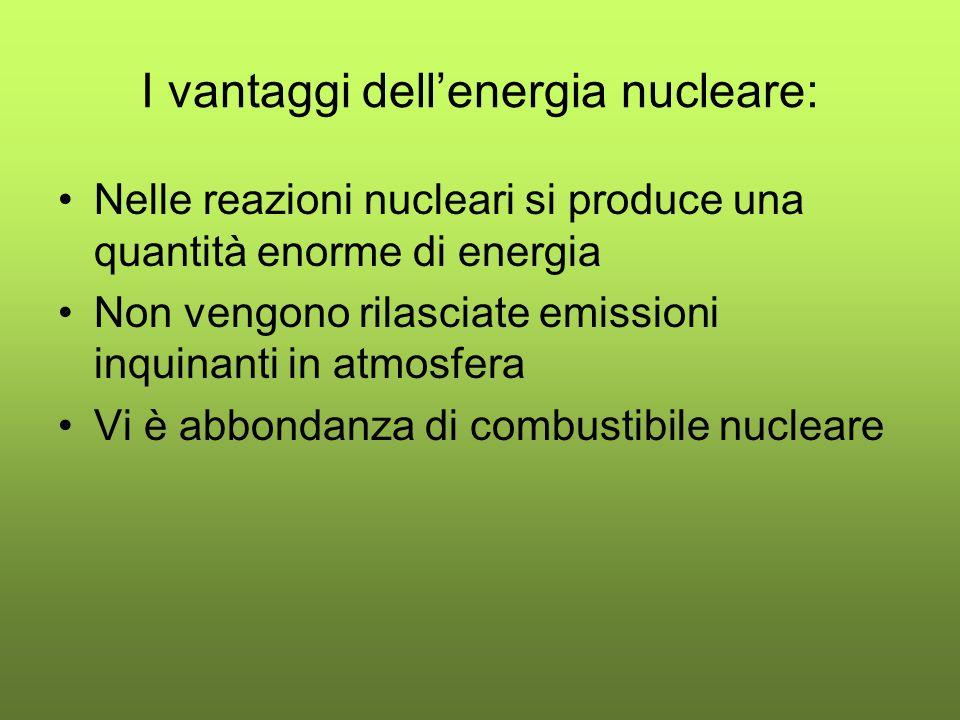 I vantaggi dellenergia nucleare: Nelle reazioni nucleari si produce una quantità enorme di energia Non vengono rilasciate emissioni inquinanti in atmosfera Vi è abbondanza di combustibile nucleare