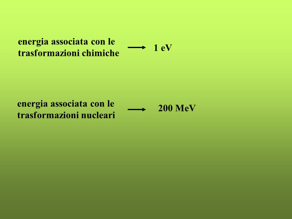 energia associata con le trasformazioni chimiche 1 eV energia associata con le trasformazioni nucleari 200 MeV