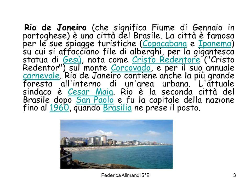 Federica Alimandi 5°B4 STORIA DELLA CITTA L area su cui sorge Rio de Janeiro venne raggiunta da esploratori portoghesi nel corso di una spedizione guidata dall italiano Amerigo Vespucci, nel gennaio del 1501.