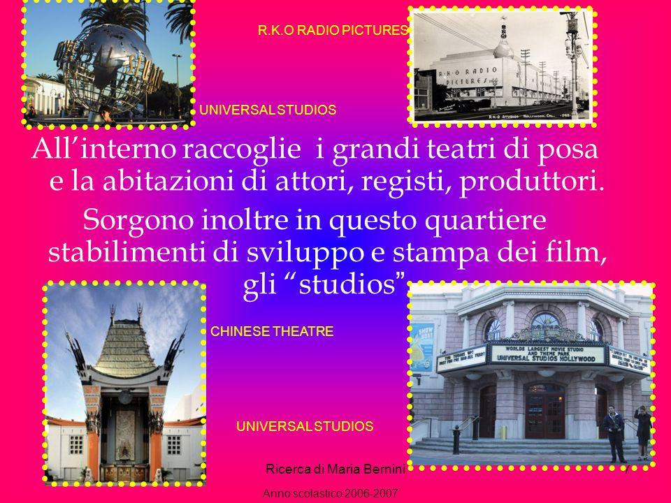 Ricerca di Maria Bernini7 Allinterno raccoglie i grandi teatri di posa e la abitazioni di attori, registi, produttori.