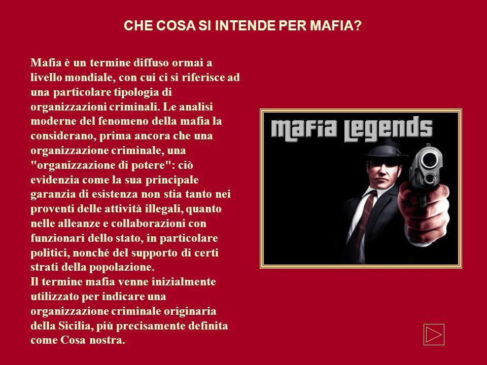 Mafia è un termine diffuso ormai a livello mondiale, con cui ci si riferisce ad una particolare tipologia di organizzazioni criminali. Le analisi mode