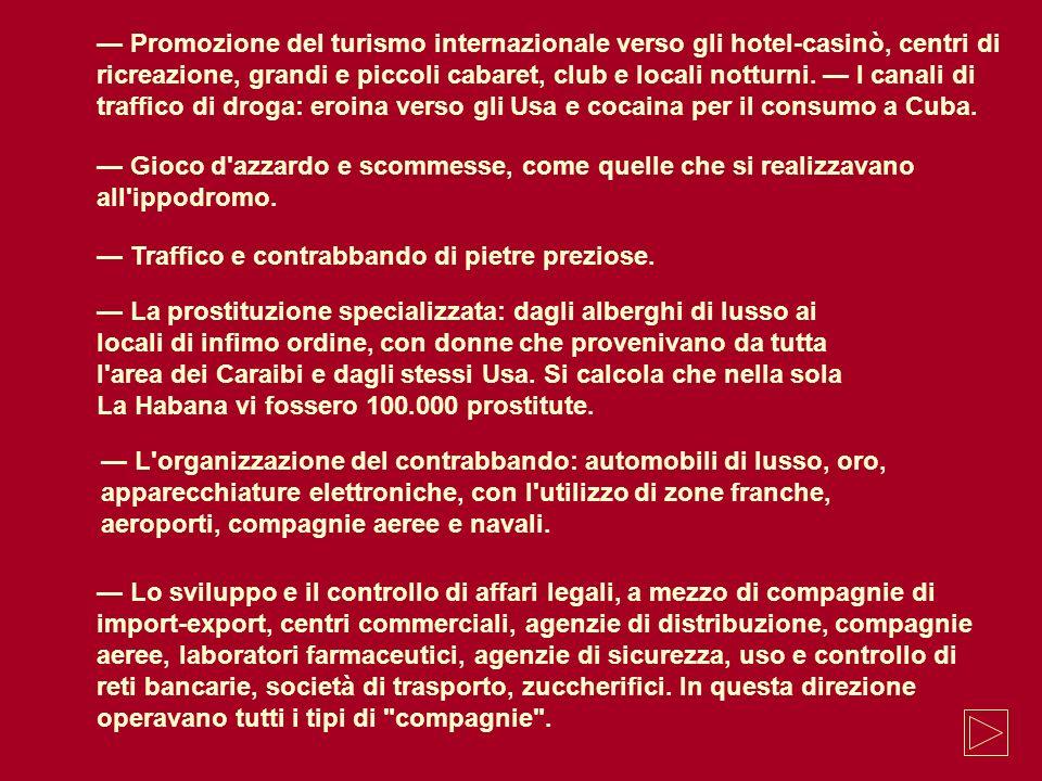 Promozione del turismo internazionale verso gli hotel-casinò, centri di ricreazione, grandi e piccoli cabaret, club e locali notturni. I canali di tra