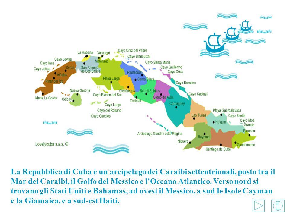 La Repubblica di Cuba è un arcipelago dei Caraibi settentrionali, posto tra il Mar dei Caraibi, il Golfo del Messico e l'Oceano Atlantico. Verso nord