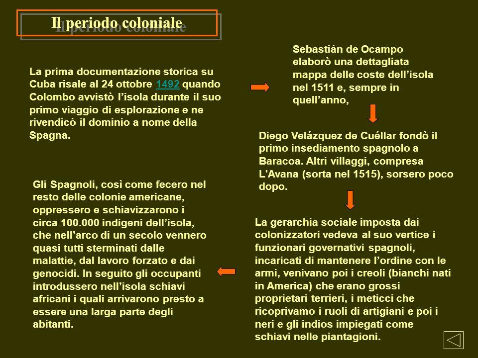 Il periodo coloniale La gerarchia sociale imposta dai colonizzatori vedeva al suo vertice i funzionari governativi spagnoli, incaricati di mantenere l