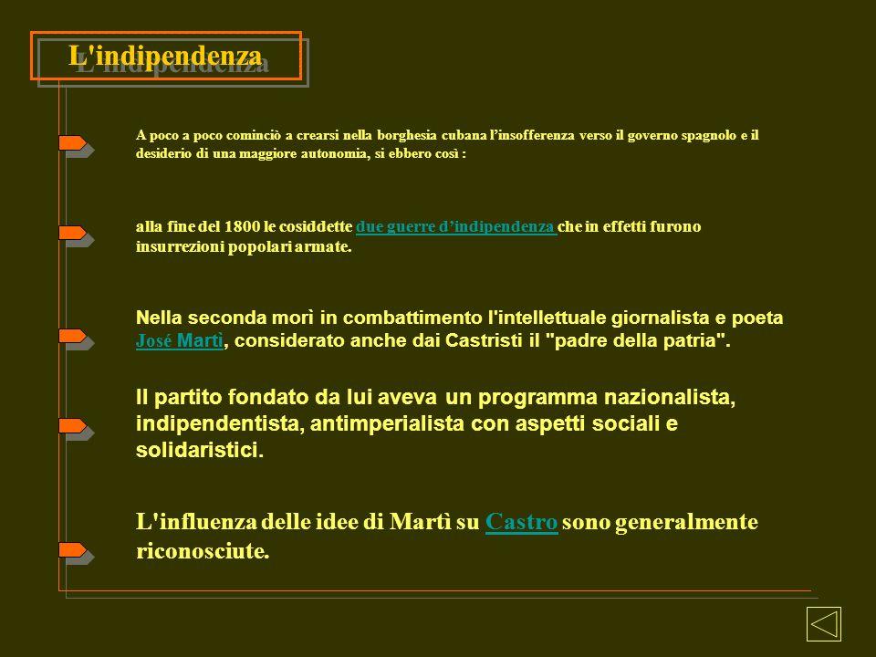 L'influenza delle idee di Martì su Castro sono generalmente riconosciute.Castro L'indipendenza A poco a poco cominciò a crearsi nella borghesia cubana