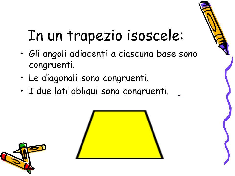 In un trapezio isoscele: Gli angoli adiacenti a ciascuna base sono congruenti. Le diagonali sono congruenti. I due lati obliqui sono congruenti.