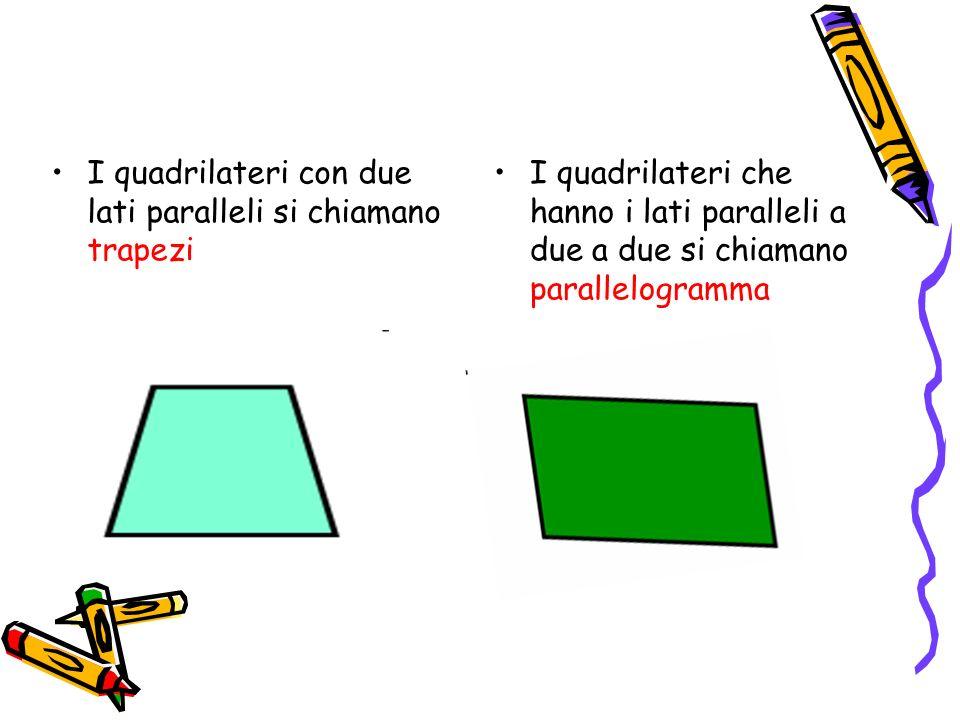 I quadrilateri con due lati paralleli si chiamano trapezi I quadrilateri che hanno i lati paralleli a due a due si chiamano parallelogramma