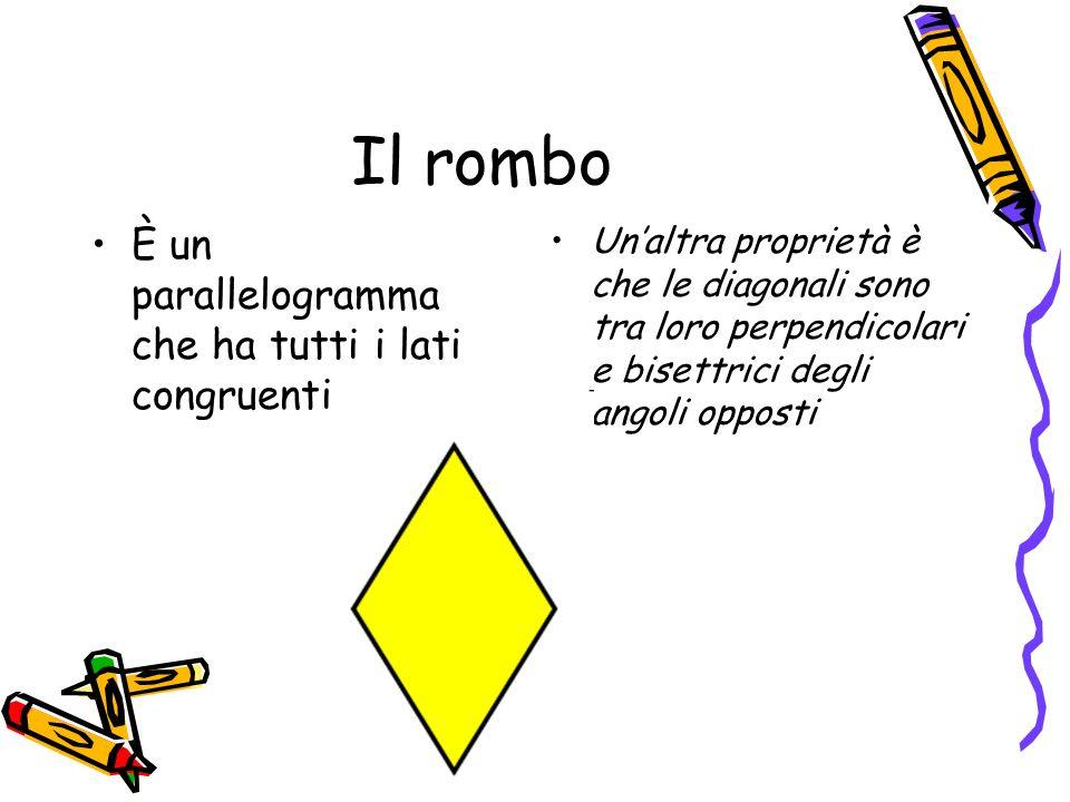 Il rombo È un parallelogramma che ha tutti i lati congruenti Unaltra proprietà è che le diagonali sono tra loro perpendicolari e bisettrici degli ango