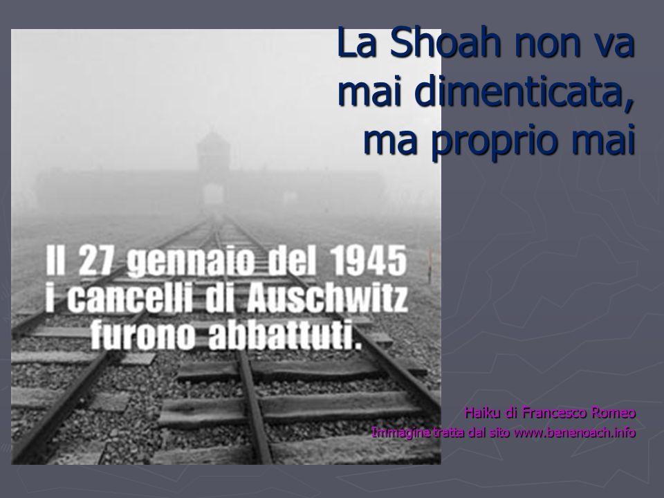 La Shoah non va mai dimenticata, ma proprio mai Haiku di Francesco Romeo Immagine tratta dal sito www.benenoach.info