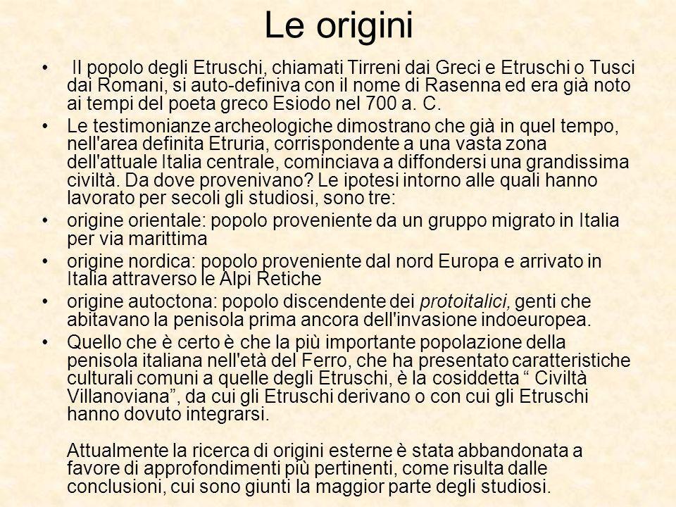 Le origini Il popolo degli Etruschi, chiamati Tirreni dai Greci e Etruschi o Tusci dai Romani, si auto-definiva con il nome di Rasenna ed era già noto