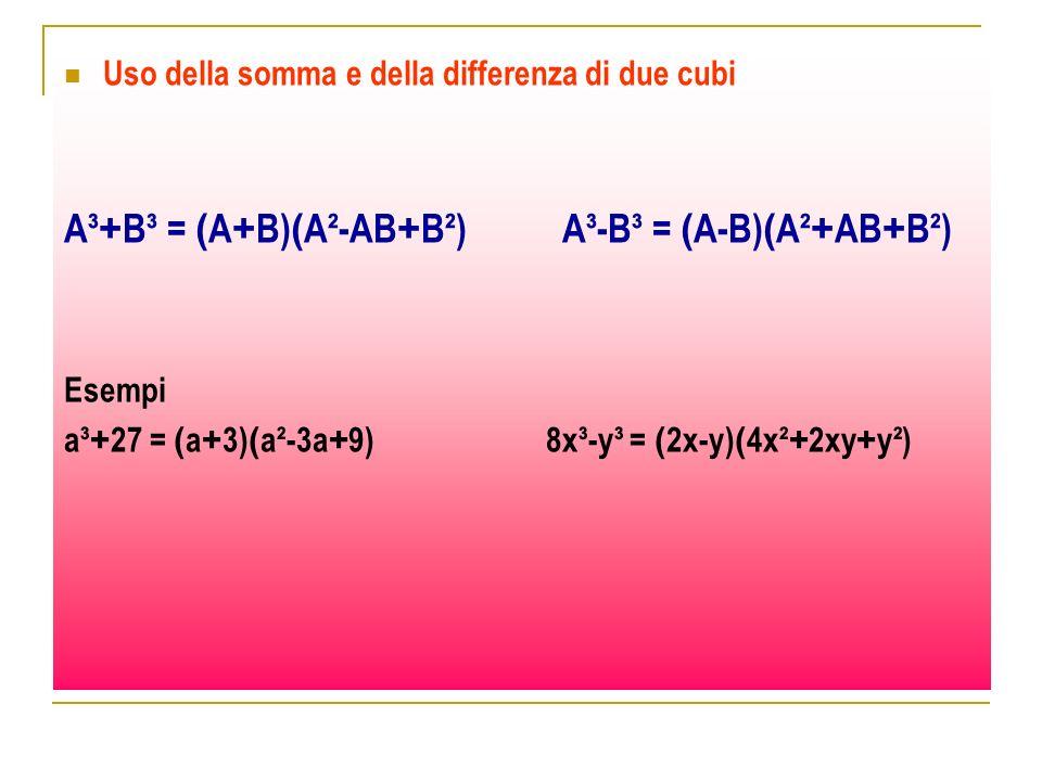 Uso della somma e della differenza di due cubi A³ + B³ = ( A + B) ( A²-AB + B²) A³-B³ = ( A-B) ( A² + AB + B²) Esempi a³ + 27 = ( a + 3) ( a²-3a + 9)