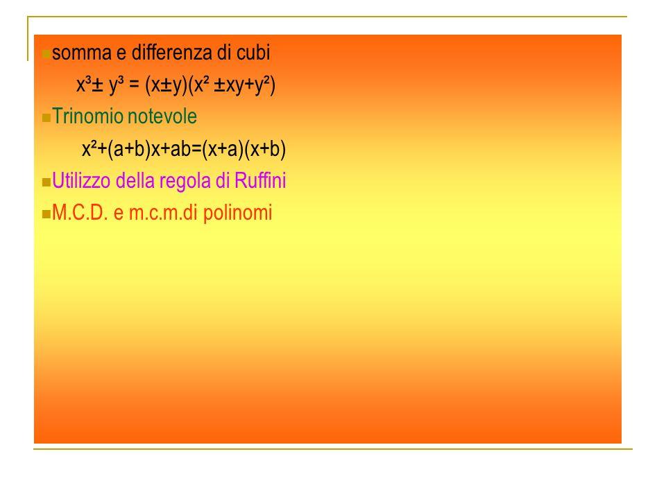 somma e differenza di cubi x³± y³ = (x±у)(x² ±xу+у²) Trinomio notevole x²+(a+b)x+ab=(x+a)(x+b) Utilizzo della regola di Ruffini M.C.D. e m.c.m.di poli